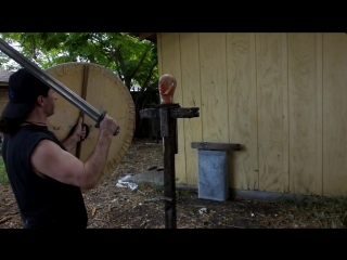 Hillside Forge Damascus Viking Sword Cutting and ballistic Gel Head Test!.mp4