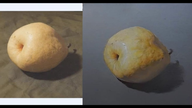 Pastel Painting of Pear fruit
