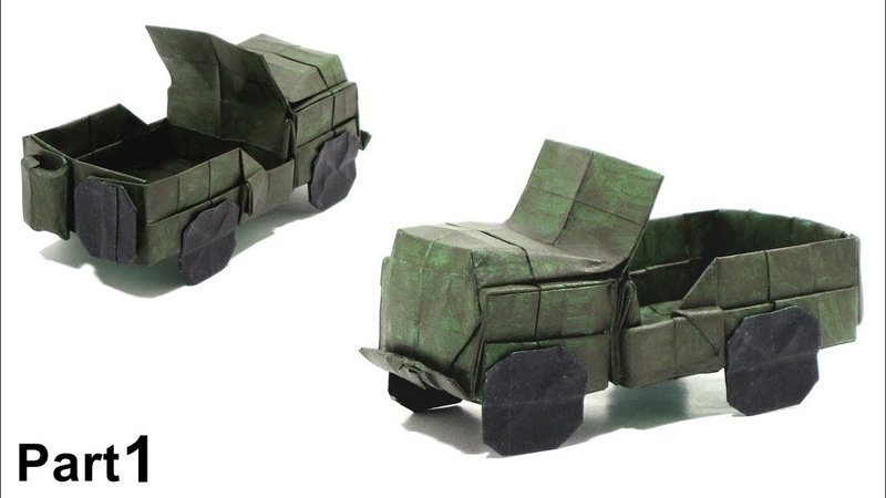 ORIGAMI JEEP WILLYS M38A1 TUTORIAL (Alberto Plaja) PART 1 折り紙 ジープ UNITED STATES MILITARY VEHICLE