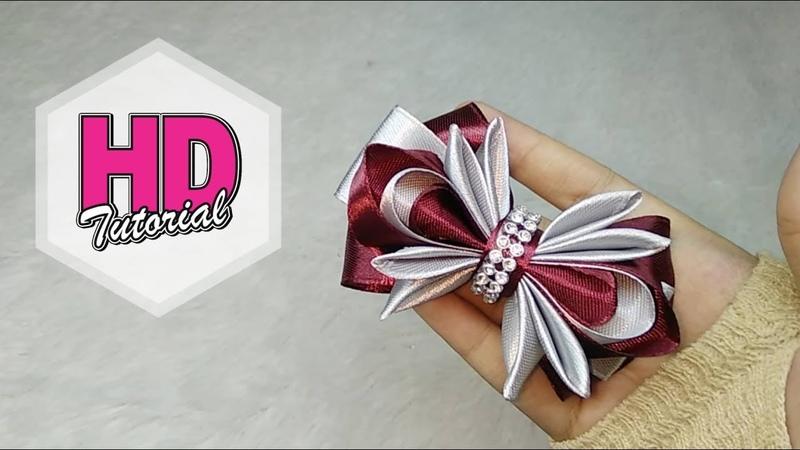 DIY - Cara Membuat Bros || Kanzashi Flower || Kanzashi tutorial || HD Tutorial