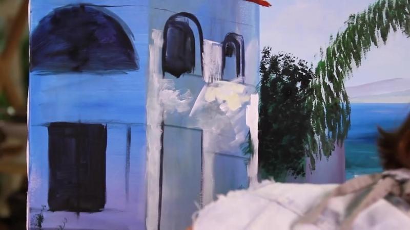 4 Греческий пейзаж акрилом Лилия Степанова