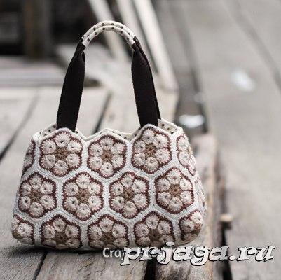 Красивая сумка крючком из мотивов