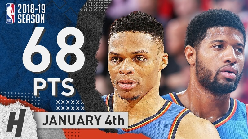 Russell Westbrook Paul George Highlights Thunder vs Blazers 2019 01 04 68 Pts Combined