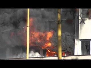 Goverment Building Burning in Tuzla - Bosnia and Herzegovina