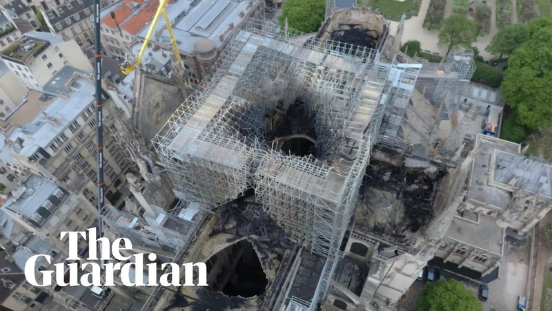 Notre Dame fire drone footage shows damage to cathedral