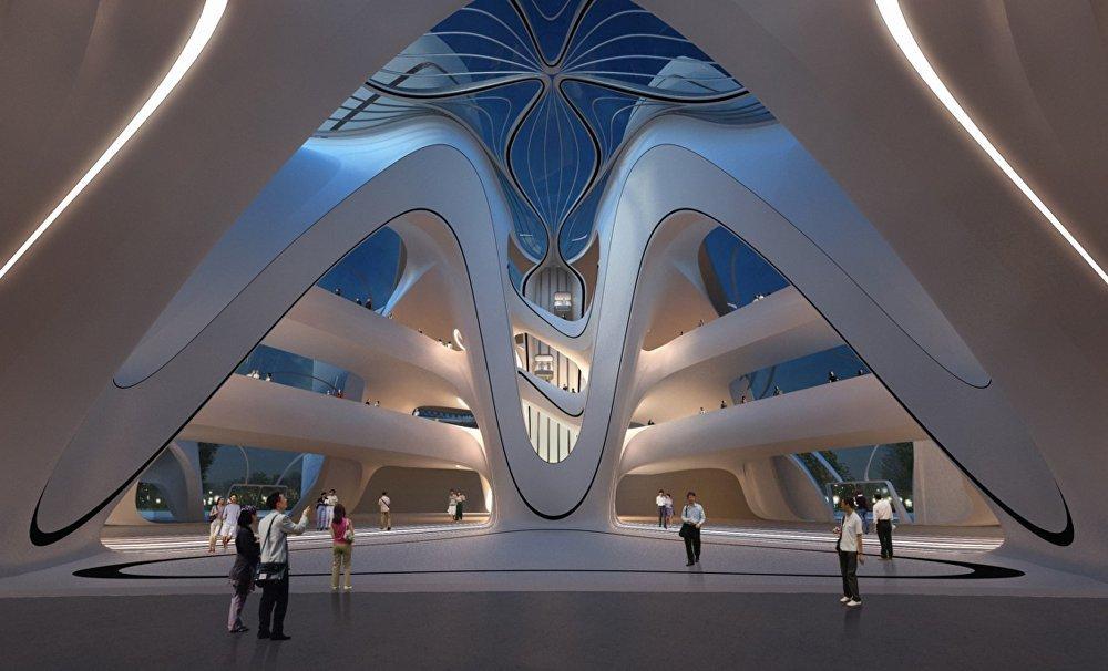 современные конструкции в общественных залах