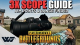 GUIDE How to use the 3X SCOPE! AIM POINTS + RANGE FINDER for 10 different weapons - PUBG