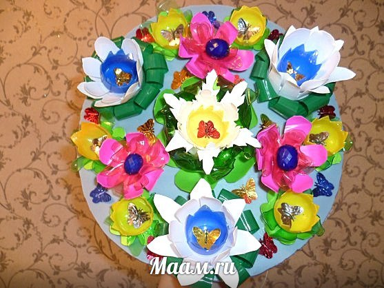 Цветы из бросового материала своими руками для школы