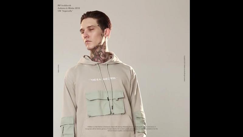 INFLATION Mens Clothing Multi-Pocket Hoodie Sweatshirt Men Harajuku Casual Vintage Streetwear Hip hop Hooded 8812W