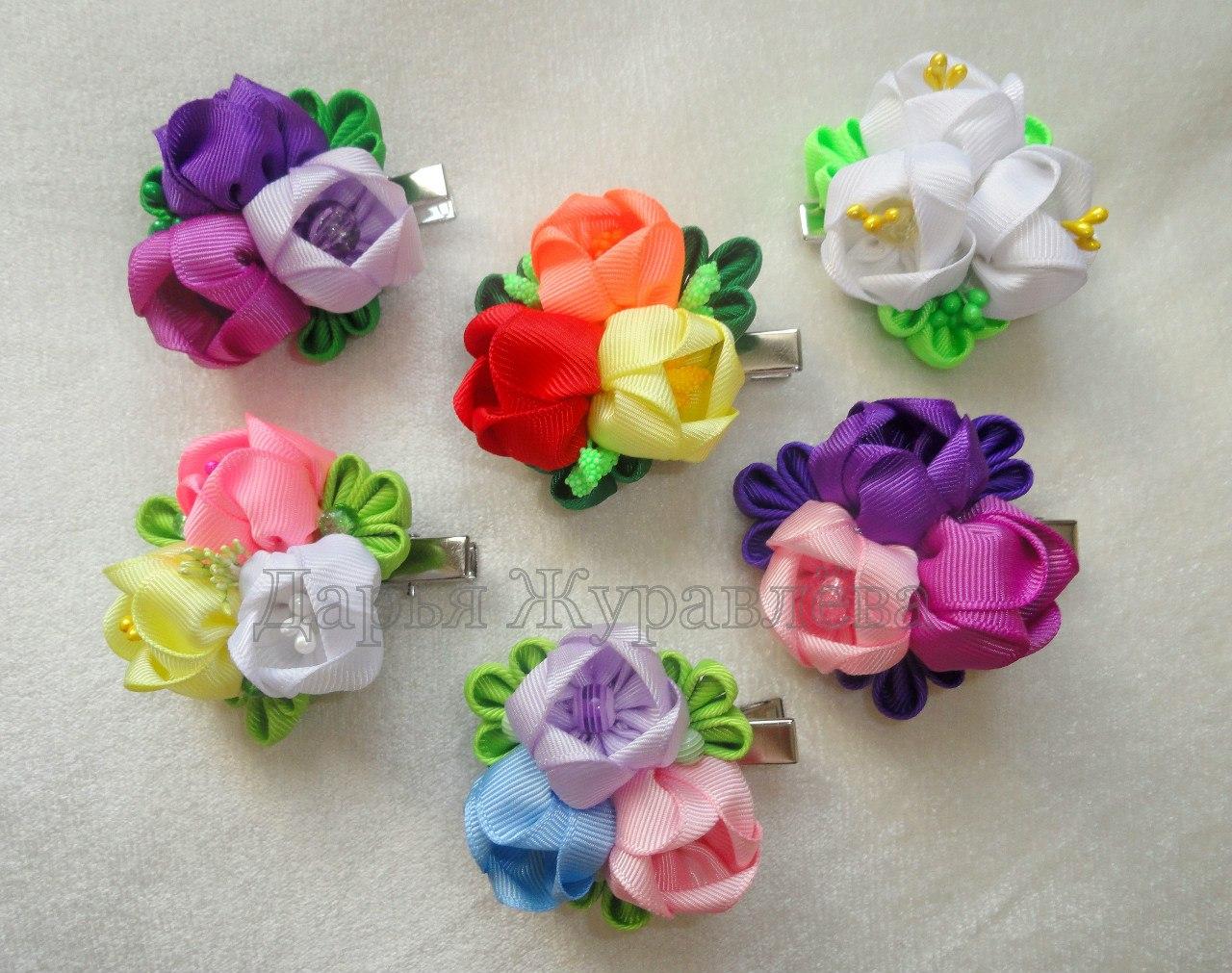Цветы из репсовых лент фото - Из лент - Master classy