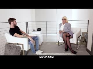 Milf - mature blonde mylf gets cum on her monster tits