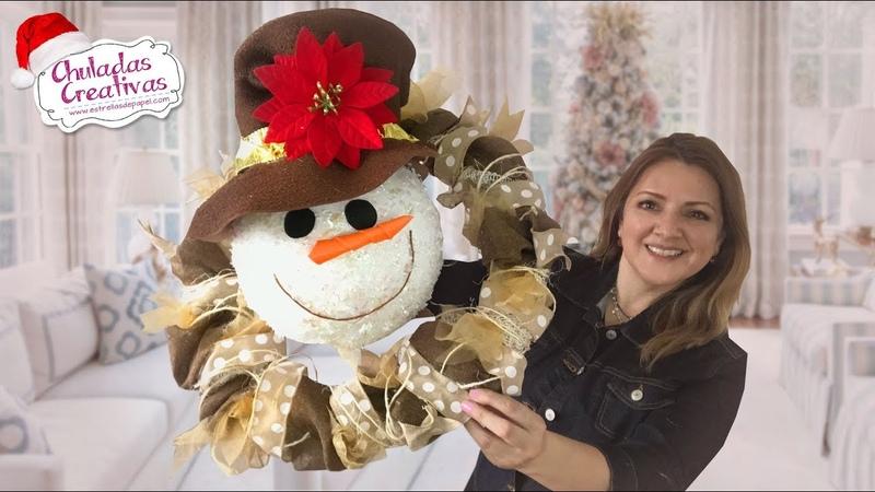 Corona Navideña Muñeco de Nieve Chuladas Creativas