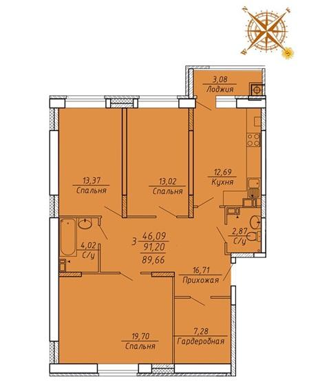 3-комнатные квартиры в ЖК Есенин в Рязани