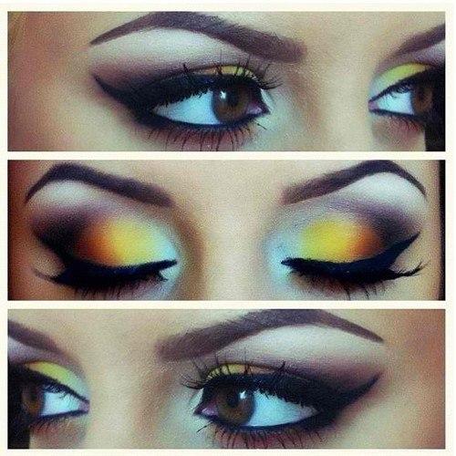 Фото макияж с желтыми тенями