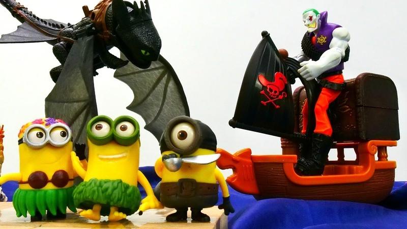 Giochi per bambini. I Pirati sull´isola dei Minions. Giocattoli educativi