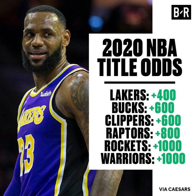 «Лейкерс» – главные фавориты на титул в 2020 году по версии букмекеров, «Уорриорз» – шестые