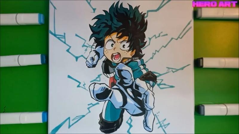 How To Draw Izuku Midoriya-Step By Step-Draw anime-manga