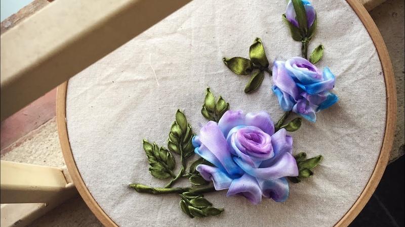 Cách thêu hoa hồng đơn giản màu xanh tím [ Ribbon Embroidery]