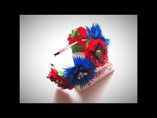 Обруч с маками и васильками | МК от Noel | Hoop with poppies and cornflowers.