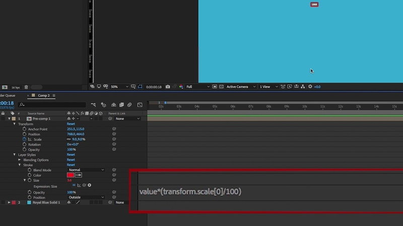 Auto scale layer style stroke After Effects quick tip
