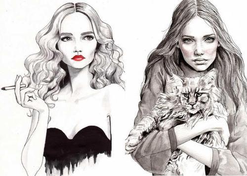 Картинки с красивыми девушками нарисованные карандашом