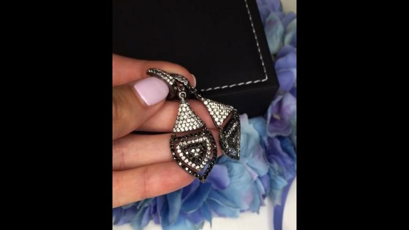 🔝💣НОВИНКА серьги черненое серебро925 💎черно белые цирконы алмазной огранки