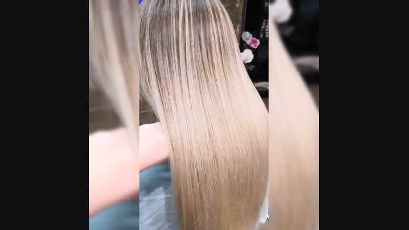 Кератиновое выпрямление волос 😋😋😋Состав смыт, волосы высушены феном☝️☝️☝️