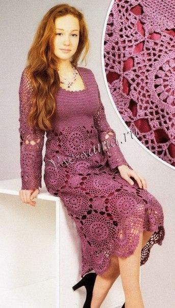 Ажурное платье из мотивов. (3 фото) - картинка