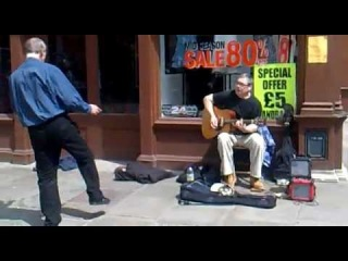 Canterbury Busker - Blues slide guitar (Johnny Kitt)- Bad to the Bone - with funny man dancing!