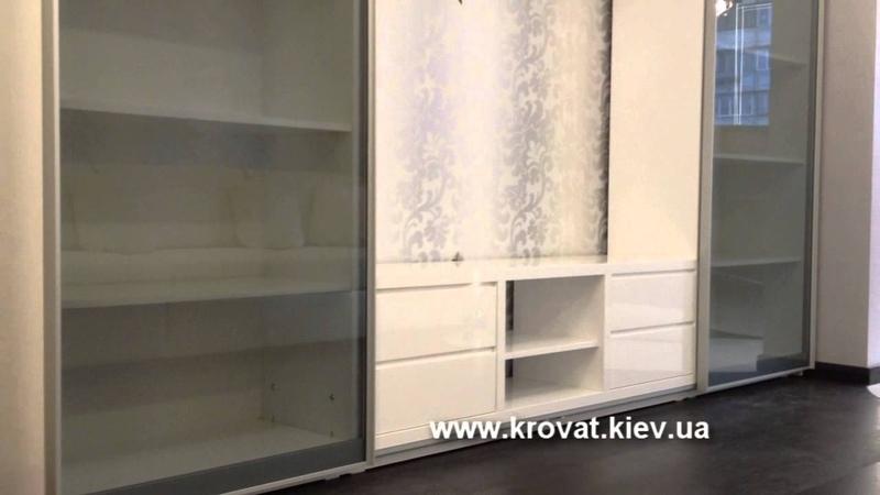 Белая глянцевая ТВ стенка на заказ