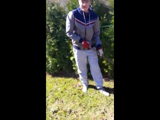 Давид грабит листья :)