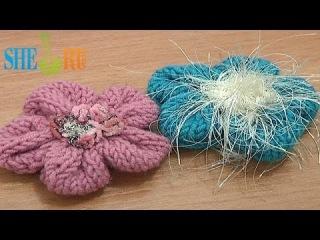 Вязание спицами цветка Урок 19 Как вязать цветок