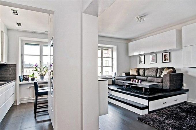 Квартира-студия 37 м с подиумом в Стокгольме / Швеция - http://kvartirastudio.