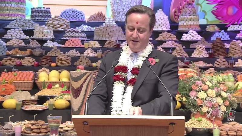 British Prime Minister David Cameron Celebrates Hindu New Year at London Mandir