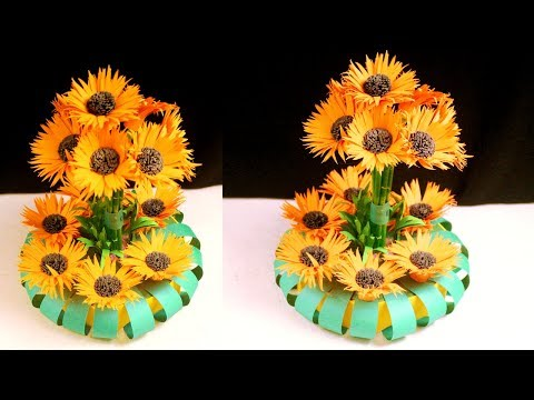 Paper crafts for home decoration - Paper flowers making - Paper flower craft