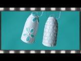 Дизайн ногтей с арт-пастой - 2 идеи: цветы и кожа рептилий. Белый маникюр.