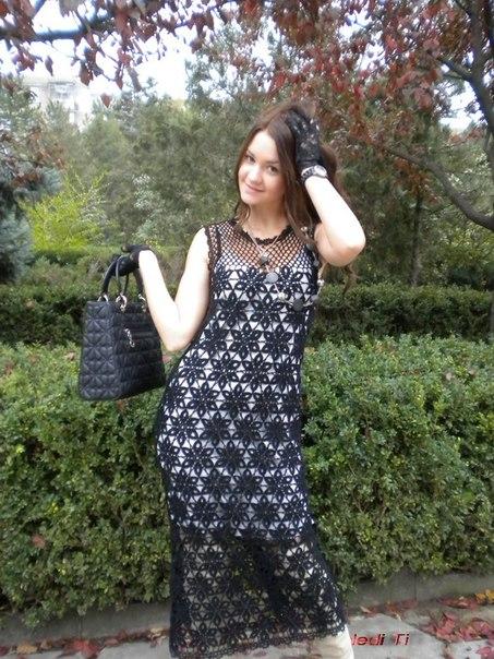Платья из безотрывного вязания крючком