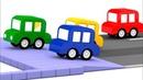 La carrera divertida 4 coches coloreados Dibujos animados
