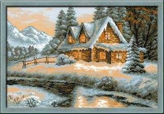 Вышивка крестом схема зимний пейзаж.