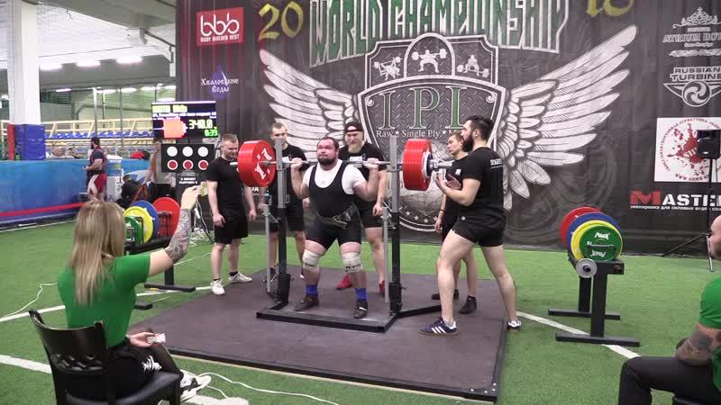 Никитин Никита присед в бинтах 340 кг
