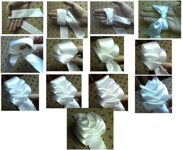 Как сделать розу из лент без иголок, ниток и ножниц… (1 фото) - картинка