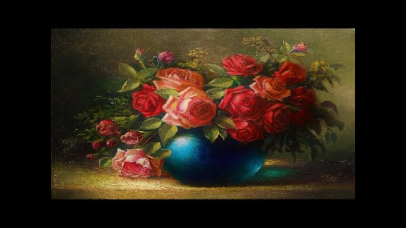Oil painting vase with roses by Yasser Fayad