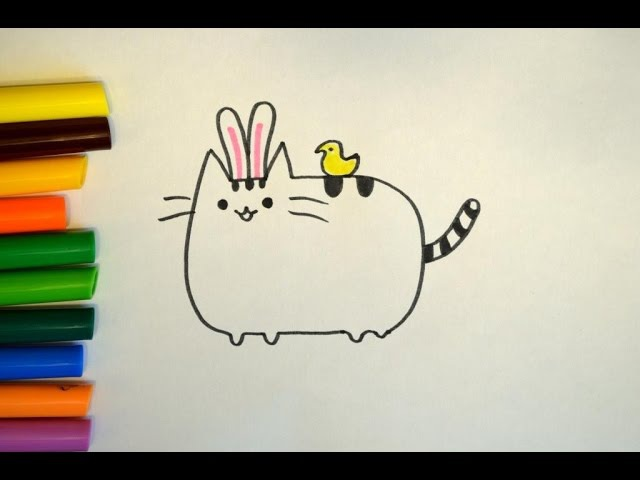 Как нарисовать кота Пушина (Pusheen). Пасха. How to draw a cat Pusheen
