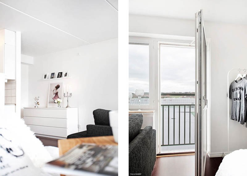 Контрастный интерьер студии 37 м в Швеции.