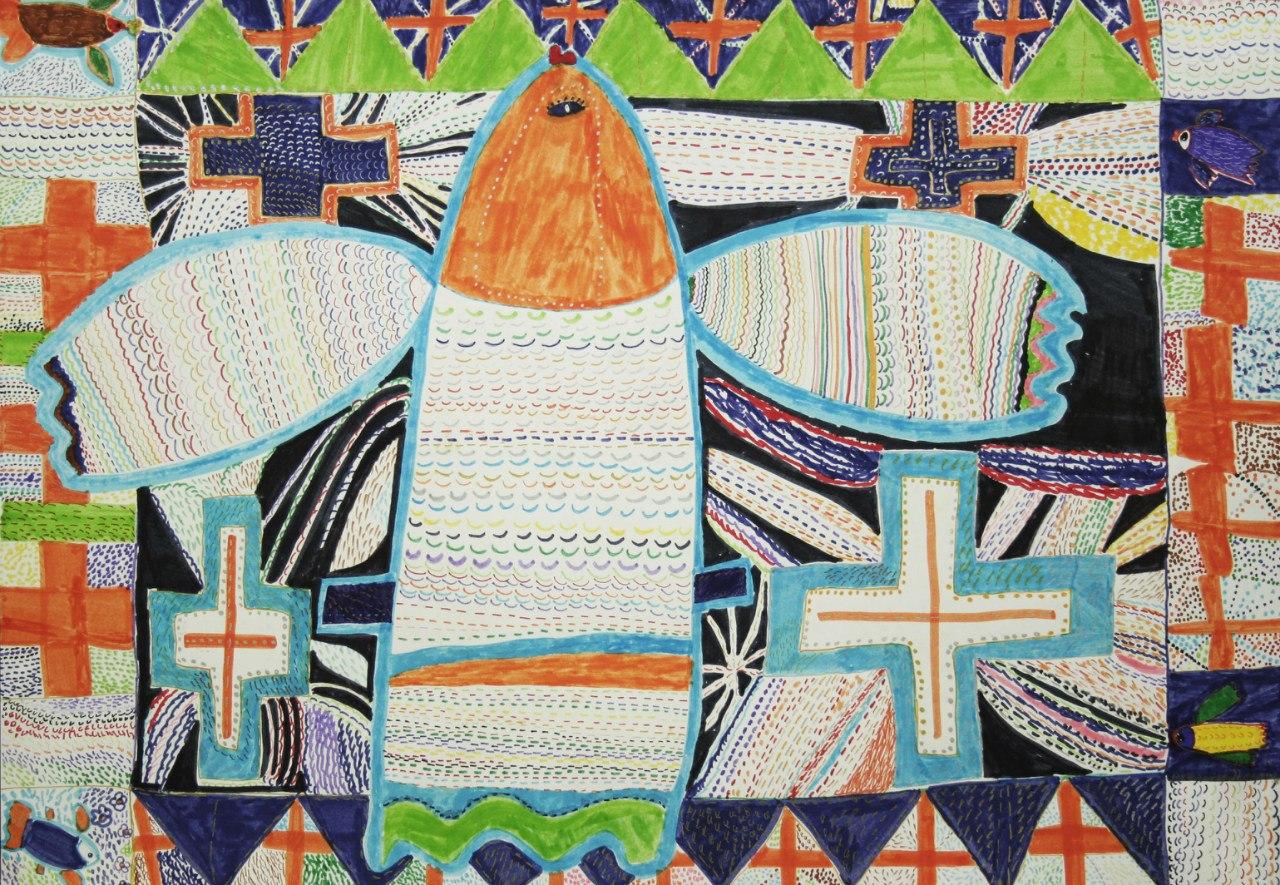 Ю. Родина. Цветная рыба с цветными крестами и черными лучами