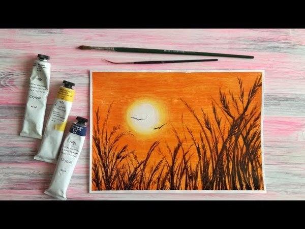 Рисуем траву на закате [Картина маслом]