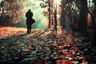 Настроения - одиночество,ворох листьев,девушка,обои.