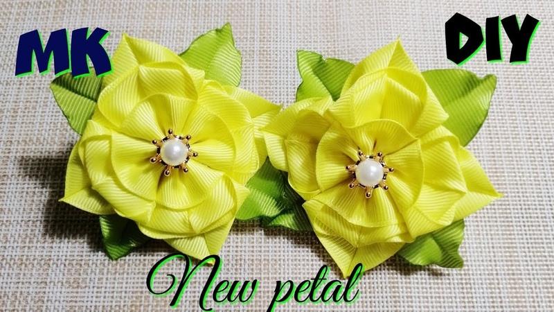 🌺Цветочки-квадратики🌺Весенние цветы из лент 2.5см 🌺Kanzashi Ribbon FlowersTutorial