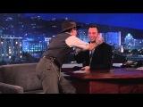 Johnny Depp kisses Jimmy Kimmel