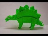 Стигазавр  оригами, origami Stegosaurus. КАК сделать Стегозавра из бумаги , Стигозавр- Stegosaurus.